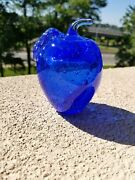 Cobalt Blue Vintage Tiifin Glass Apple Paperweight, Signed Maxwell Crystal