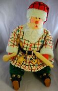 Primitive Folk Art Santa Claus Is Coming To Town W/ Mechanical Music Box Moving