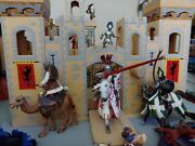 Scheilch And Papo Knights Lot With Wooden Castle