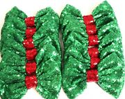 Set Of 12 Large 5 Inches Christmas Green Sequin Bowsdiy Wholesale Bows/ No Clip