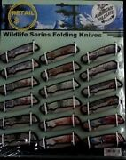 American Wildlife Series By Frost Cutlery-18 Ct 3 1/2 Folding Knives Display