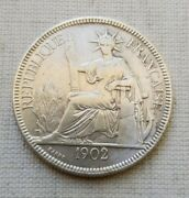 1902 French Indo-chine Francaise Piastre De Commerce Silver Coin