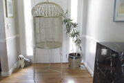 Magnificent Solid Iron Bird Cage Vtg Ornate Victorian Dome Parrot House Huge