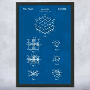 Framed Rubiks Cube Print Puzzle Wall Art Playroom Art Toy Lover Gift Gaming Art