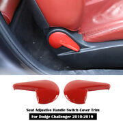Red Seat Adjustive Handle Switch Cover Trim Decor For Dodge Challenger 2010-2019