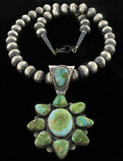 Sonoran Gold Turquoise Cluster Pendant With Sterling Silver Bead Necklace