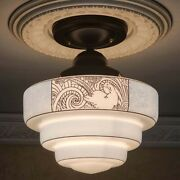 839b Vintage Art Deco Glass Shade Ceiling Light Fixture Hall Entry Bath 3 Tiered