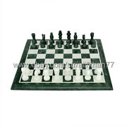 12x12 Chess Board Green Marble Antique Chess Set Vintage Chess Indoor Games