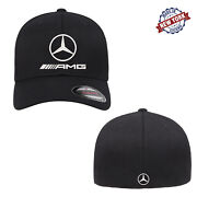 Mercedes-benz Amg Logo Embroidered Flexfit Fitted Ball Cap Front And Back Stitch