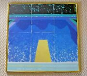 David Hockney Day Pool With Three Blues Vintage 1988 Exhibition Poster Framed