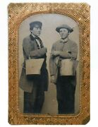 Mid-19th C American Antique Occupational Tintype Two Milkers W/cans, Gold Frame