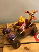 Disney Pooh Tigger And Piglet In Cart Resin Statue Figurine Ornament