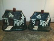 Old Vintage Cast Iron - Pair Of Cottages - Cape Cod - House Door Stops Book Ends