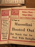 Lot 2 Wwii Newspaper Pm Daily V4 N33 And V4 N28 Mussolini Booted Out Bombing Rome