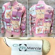 Marcia Collection Antique Womenand039s Small S Pink White Peach Golf Vintage Jacket