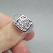 Rond 0.80 Ct Vrai Diamant Fianandccedilailles Homme Bande Solid 950 Platine Bague Taille