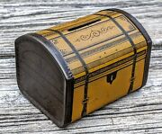 Antique Rounded Top/camelback Trunk Tin Bank May 29th 1888 100 Original