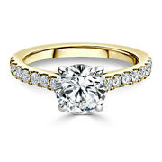 Round Cut 2.84 Ct Moissanite Wedding Ring For Ladies Solid 14k Yellow Gold 6 7