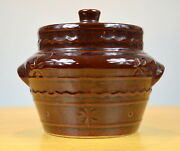 Mar-crest Daisy And Dot Stoneware Casserole W/ Lid Colorado Brown Made In U.s.a.