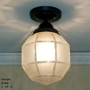 806b Vintage Antique Larger Glass Shade Globe Ceiling Light Fixture Entry Porch