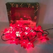 Franks Vintage Working Christmas Red Poinsettia Silk Flowers Lights 20 String