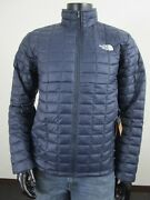 Nwt Mens Tnf The Thermoball Eco Insulated Fz Puffer Jacket Navy Blue