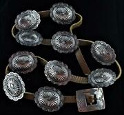 Sterling Silver Navajo Concho Belt-2nd Phase-10 Conchas Plus Buckle-unsigned