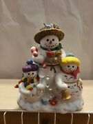 New Partylite Ceramic Snowman Snowbell Candle Tealight Holder Christmas Decor