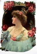 Lovely Vintage Large Die Cut Sample Calendar W/ Stunning Woman And Pink/red Roses