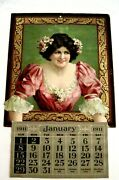 Lovely Vintage Large Die Cut Sample Calendar W/ Stunning Woman And Soft Dress
