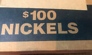 Box Of 50 Unsearched Jefferson Nickel Rolls 100 Circulated Coins Bank Rolled