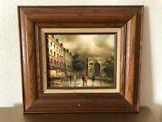 Antique , Old French Oil Painting By T. Costello . Framed /signed