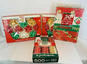 Vintage Christmas Bows, Ribbon, Square Package Wrapping Paper. Lot Of 4