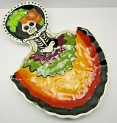 Day Of The Dead Halloween Girl Two Part Dish Blue Sky Clayworks Heather Goldminc