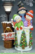Ceramic Bisque Hand-painted Snowman Family Trio With Base And Stump