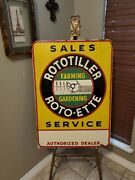 Rototiller Farm Tractor And Feed Advertising Sign