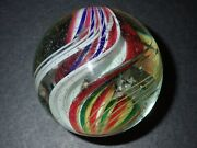 Mint Antique German Marble Banded Double Ribbon Core Peppermint Swirl Handmade