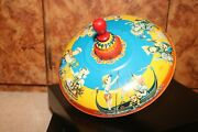 Mnn Spinning Top 1950s Western Germany Tin Litho Mid Century Modern Toy