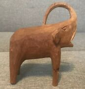 """Hand Carved Wooden Elephant, Vintage Estate Sale Find, 7"""" Tall, Nice Condition"""