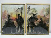 Vintage Silhouette Pictures Pair Convex Glass Couple Courting Reverse Image 8