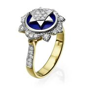 14k Yellow And White Gold And Blue Enamel Diamond Studded Star Of David Ring