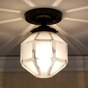 807 Vintage Antique Geometric Glass Shade Ceiling Light Fixture Hall Entry Porch