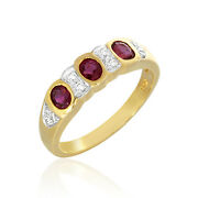 0.76ct Oval Ruby Ring Diamond Jewellery 18k Authentic Yellow Gold Woman Ornament