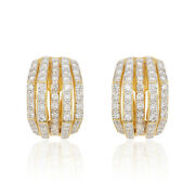 18k Yellow Gold Diamond Earrings Ear Studs Authentic Ornament 1.72cts Jewelry