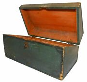 Rare Mid-19th C American Antique Salmon Int, Grn/blk Pntd Ext 1-drwr Writing Box