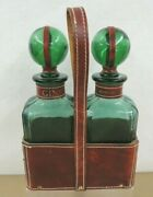Vtg Green Glass Liquor Decanters Whiskey And Gin W/glass Stoppers Leather Carrier