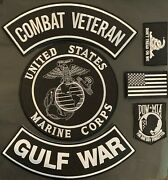 U.s. Marine Corps Combat Veteran Gulf War Military Motorcycle Lot Of 6 Patches