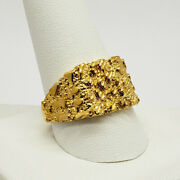 Solid 24k Yellow Gold Large Diamond Cut Mens Nugget Ring, Size 5 - 11