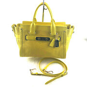 Coach Rare Embossed Python Coh Swagger Bag Yellow 35325 Retail 795