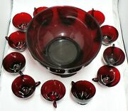 Anchor Hocking Ruby Red Glass Punch Bowl With Stand And 12 Cups